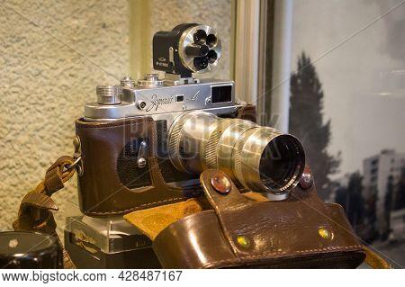 Old Soviet Rangefinder Small-format Camera Zorky-4: Russia - April 2021