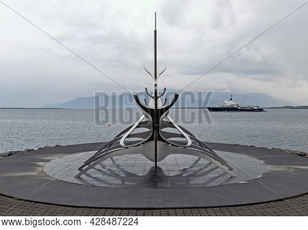 Reykjavik, Iceland - June 19th, 2021: Luxury Yacht Le Grand Bleu, Owned By Roman Abramovich, One Of