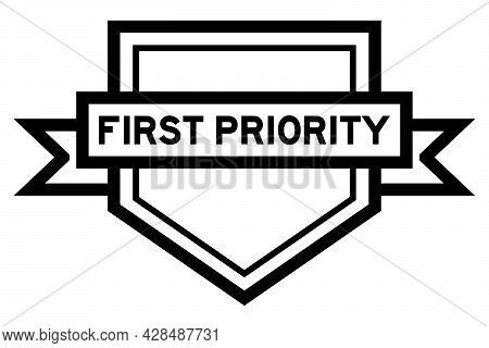Vintage Pentagon Label Banner With Word First Priority In Black Color On White Background