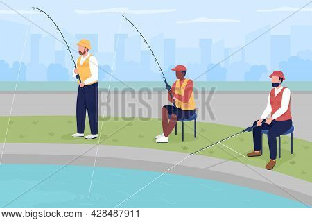 Amateur Fishing Competition Flat Color Vector Illustration. Professional Fishermen. Tournament For A