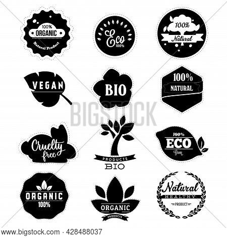 Eco Friendly Badge Label In Black White. Organic Natural Product, Eco Quality, Cruelty Free, Bio And