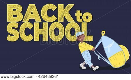 An African American Boy In A Cap Drags A Large Backpack. Preschooler With Backpack On Dark Blue Back