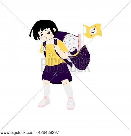 A Little Schoolgirl Is Carrying A Heavy Backpack. Concept Back To School. Girl With A Large Schoolba