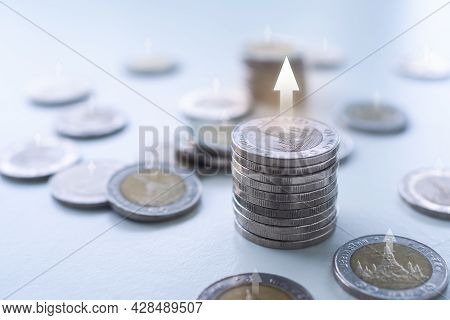 Stack Thai Coin With Over And Light Day. Planing Earn Investment And Saving Money Future For 2022 Ne