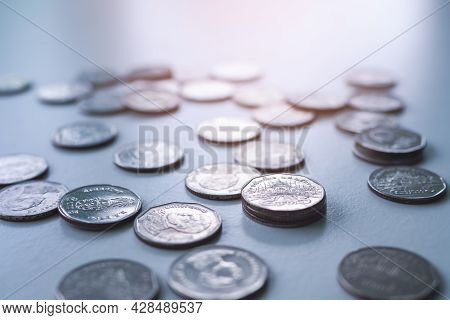 Stack Thai Coin With Over Light Day. Planing Earn Investment And Saving Money Future For 2022 New Ye