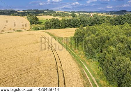 Highlands, Farmlands, Meadows And Clumps Of Trees Photographed From High Altitude With A Drone. Sude