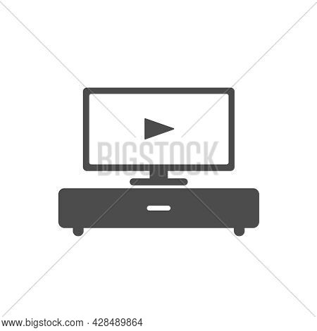 Smart Tv Silhouette Vector Icon Isolated On White Background. Smart Tv Furniture Icon For Web, Mobil