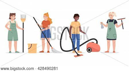 Cute Children Doing Housework Set. Boy And Girls Mopping And Vacuuming Floor. Children With A Broom,