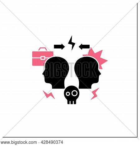 Conflict Glyph Icon. Dispute Between Two Persons. Disagreement At Work. Misunderstanding Concept.fil