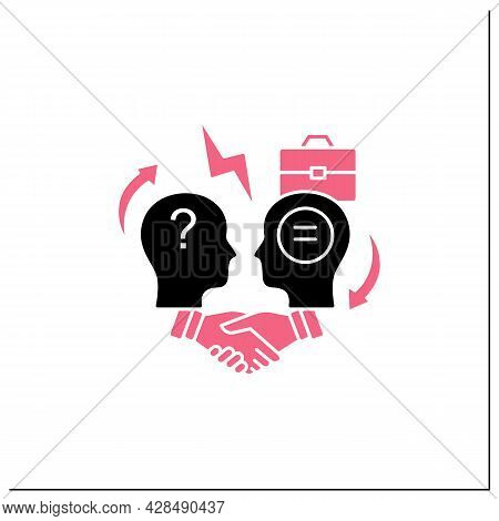 Conflict Resolution Glyph Icon.conflict Between Two Persons.peaceful Solution To Disagreement.resolv