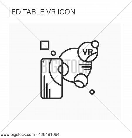 Augmented Reality Line Icon. Objects Residing In The Real World Are Enhanced By Computer-generated P