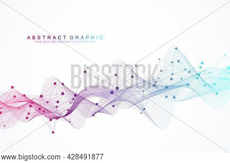 Flowing Geometric Abstract Background With Connected Lines And Dots. Connectivity Flow Point. Molecu