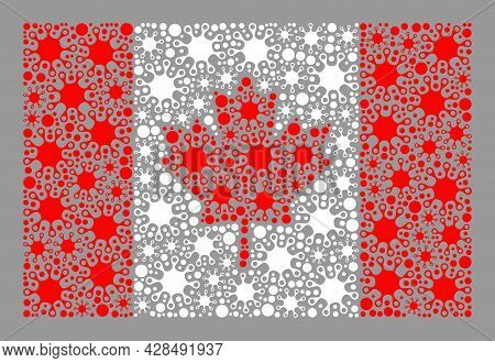 Mosaic Canada Flag Designed With Cell Icons. Vector Covid-2019 Mosaic Canada Flag Created For Lockdo
