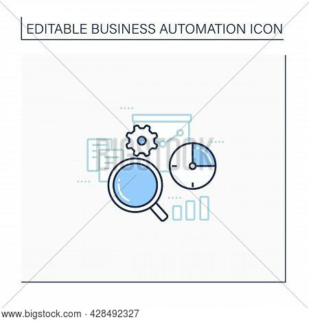Timely Analytics Line Icon. Displayed In Real Time Reports And Information, Detailed Analysis. Busin
