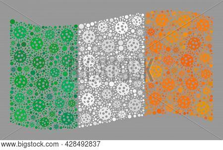 Mosaic Waving Ireland Flag Designed With Infection Elements. Vector Covid Mosaic Waving Ireland Flag