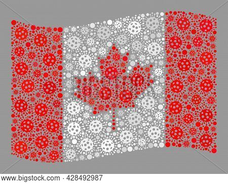 Mosaic Waving Canada Flag Designed Of Bacterium Items. Vector Covid-2019 Collage Waving Canada Flag