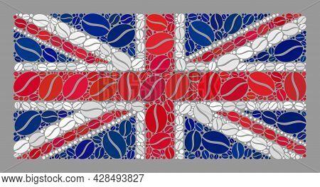 Mosaic United Kingdom Flag Created Of Coffee Seed Elements. Vector Coffee Mosaic United Kingdom Flag