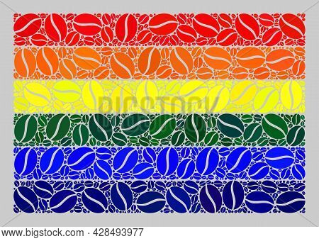 Mosaic Lgbt Flag Is Designed With Cacao Grain Items. Vector Coffee Mosaic Lgbt Flag Designed For Cof