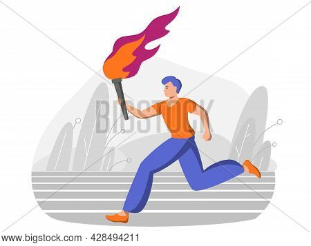 Young Male Runner Carries A Torch With Fire. Sports Games, Victory In The Competition. Peaceful Fire