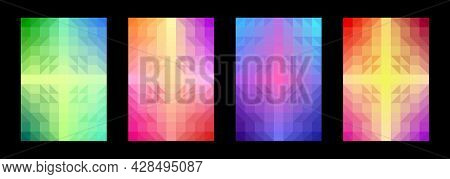 Colorful Pattern Background Set. Abstract Geometric Shape. Gradient Square Triangle. Template Design