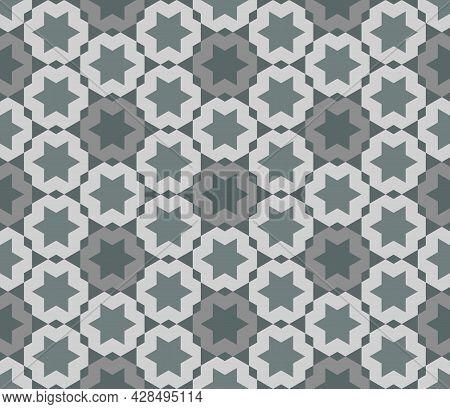 Abstract Background Hexagram, Greenish Gray. Arranged In A Grid Line. Hexagon Shape Pattern Seamless
