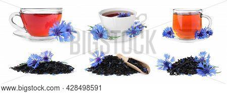 Set With Cornflower Tea On White Background. Banner Design