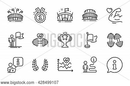 Sports Icons Set. Included Icon As Approved, Flag, Cardio Training Signs. Laurel Wreath, Leadership,