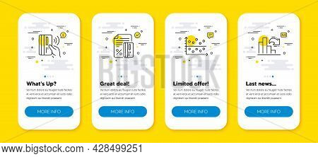Vector Set Of Contactless Payment, Credit Card And Dot Plot Line Icons Set. Ui Phone App Screens Wit