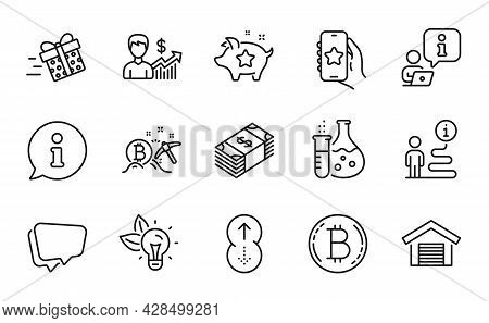 Business Icons Set. Included Icon As Bitcoin Mining, Usd Currency, Speech Bubble Signs. Swipe Up, Ec