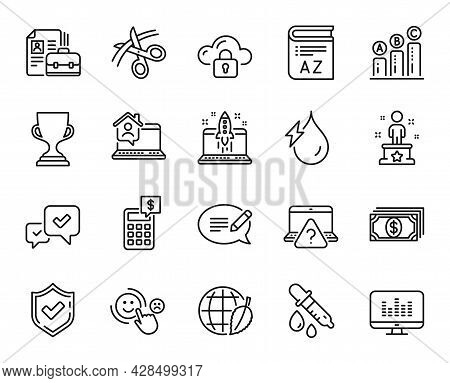 Vector Set Of Scissors, Approve And Payment Line Icons Set. Vocabulary, Chemistry Pipette And Enviro
