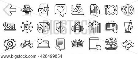 Set Of Business Icons, Such As World Travel, Documents Box, Cloud Share Icons. Analysis App, Left Ar