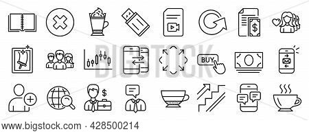 Set Of Line Icons, Such As Maximize, Phone Messages, Businessman Case Icons. Usb Flash, Mail, Video
