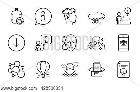 Business Icons Set. Included Icon As Healthy Face, Share Call, Refill Water Signs. Smartphone Buying