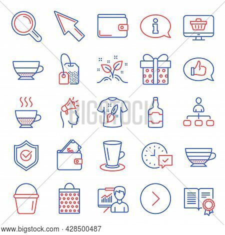 Line Icons Set. Included Icon As Management, Bucket, Shopping Bag Signs. Startup Concept, Mouse Curs