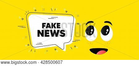 Fake News Text. Cartoon Face Chat Bubble Background. Media Newspaper Sign. Daily Information Symbol.