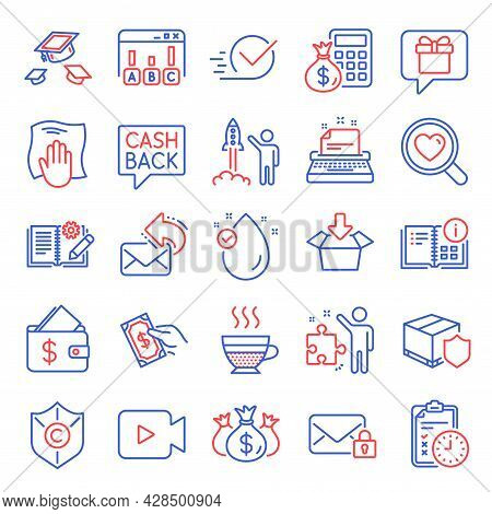 Line Icons Set. Included Icon As Check Investment, Vitamin E, Checkbox Signs. Share Mail, Washing Cl