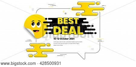 Best Deal Text. Cartoon Face Sticker With Chat Bubble Frame. Special Offer Sale Sign. Advertising Di