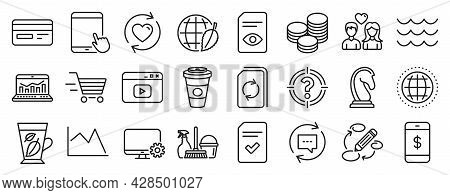 Set Of Line Icons, Such As Tips, Delivery Shopping, Checked File Icons. View Document, Web Analytics