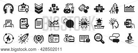 Set Of Education Icons, Such As Idea, Chemistry Lab, Receive File Icons. Quick Tips, Start Business,