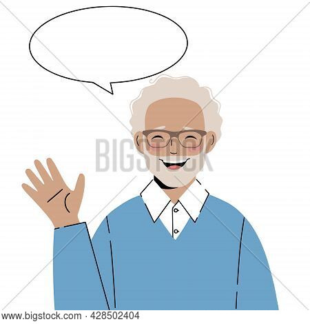 Illustration Mature Older Man With A Greeting Gesture. Older Man Says Hello, Vector