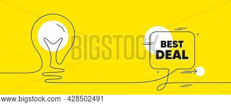 Best Deal Text. Continuous Line Idea Chat Bubble Banner. Special Offer Sale Sign. Advertising Discou