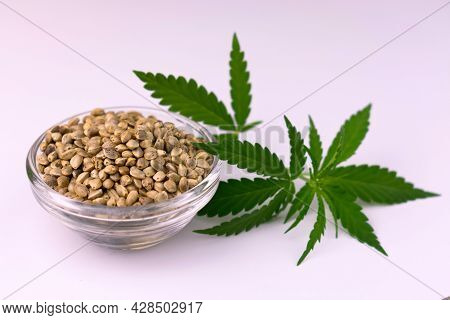 Hemp Seeds In A Glass Bowl With Hemp Leaves On A White Background. Cannabis Sativa.
