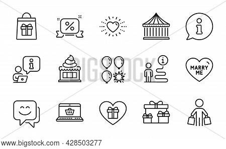 Holidays Icons Set. Included Icon As Discounts Ribbon, Heart, Surprise Boxes Signs. Buyer, Carousels