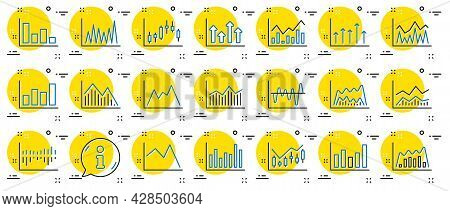 Financial Chart Line Icons. Set Of Candle Stick Graph, Report Diagram And Infochart Icons. Growth, T