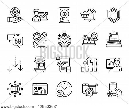 Vector Set Of Notification Cart, Video Conference And Scroll Down Line Icons Set. Settings Blueprint