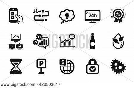 Vector Set Of 5g Statistics, Beer Bottle And Journey Path Icons Simple Set. Energy, 24h Service And