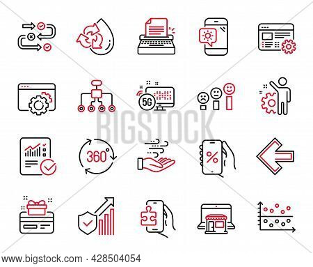 Vector Set Of Technology Icons Related To Employee, Customer Satisfaction And Recycle Water Icons. L