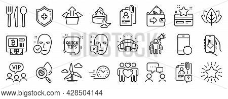 Set Of Business Icons, Such As Recovery Phone, Loyalty Card, Wallet Icons. Quick Tips, Face Declined
