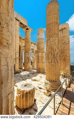 Propylaea Palace Ruins On Acropolis Of Athens, Greece. This Place Is One Of Top Landmarks Of Athens.