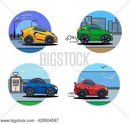 Vector Car Icons. Flat Style Car Icon, Badges, Logo